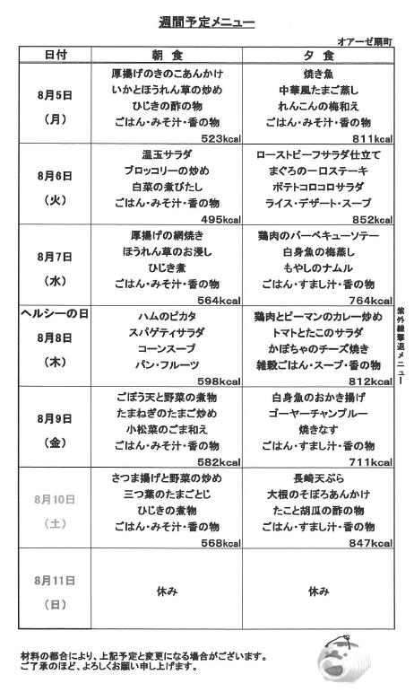 2019年8月5日~食事メニュー